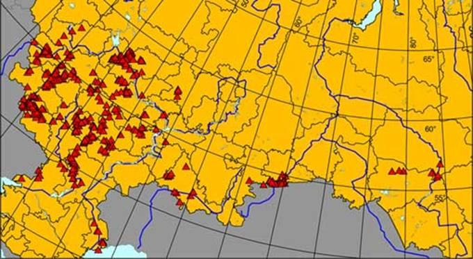 России показано на карте.